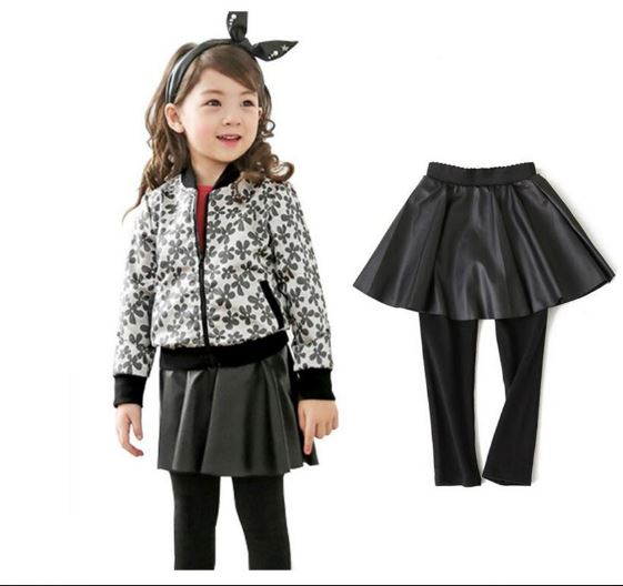 Girls PU leather skirt fake two culottes bottoming culottes Children dress Spring models child pantyhose outer wear trousers