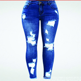 New Ultra Stretchy Blue Tassel Ripped Jeans Woman Denim Pants Trousers For Women Pencil Skinny Jeans