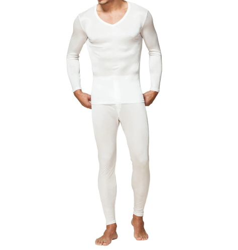 Men Long Johns 100% Pure Silk Jersey Knit Men V Neck Thermal