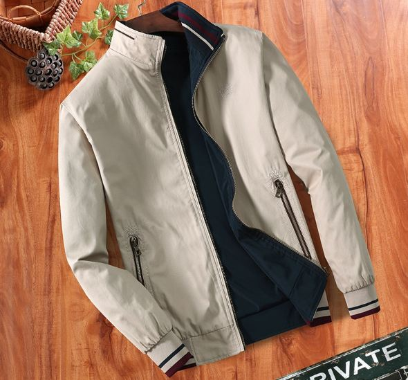 Double-sided, middle-aged men's jacket, thin jacket, loose jacket, pure cotton, leisure, spring, autumn