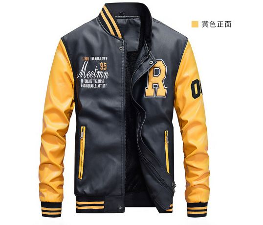Baseball Jackets Men Letter Stand Collar Pu Leather Coats Plus Size 4XL Fleece Pilot Leather Jacket