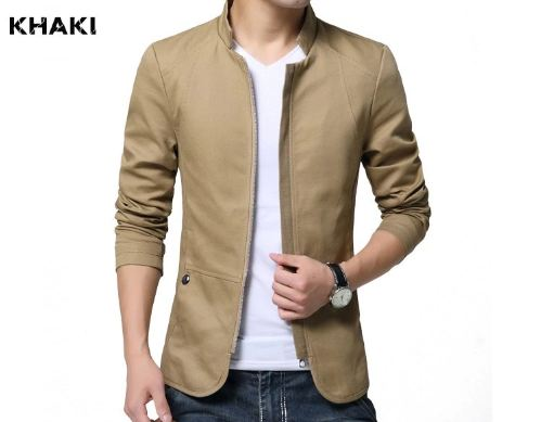 British Style Men's Jacket Coat Cotton Solid Casual Jacket Men Slim Fit Stand Jackets Male Fashion