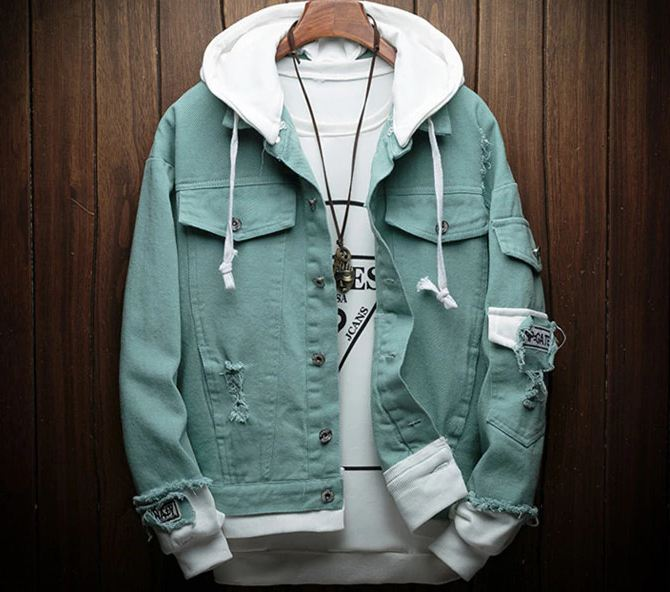 Hooded Denim Jacket Men Fashion Fake Two Pieces Of Streetwear Bomber Jacket and Coat