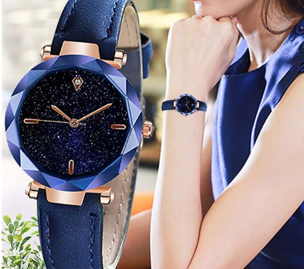 Women's Watch Luxury Starry Dial Mirror Convex Leather Strap Watch