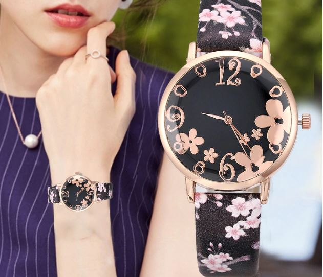 Luxury Girl's Watch New Fashion Women's Flowers Relief Small Belt Fresh Printed Female