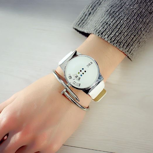 Womens Watches Must-Have Fashion Colorful Student Desk Turntable Table-Favorite White Collar For Women