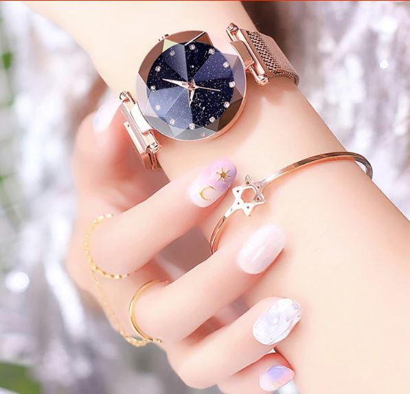 Luxurious ladies stainless steel watch magnet knitted with starry luminous shining diamond fashion female