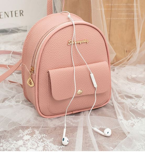 omen Style Korean Style Backpack PU Leather Shoulder Bag For Teen Girls Multi-Function Small Bagpack
