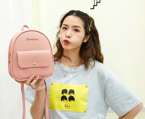 Women's Mini PU Leather Shoulder Bag Shoulder Bag For Teen Girls Multi-Function Small Bagpack Female
