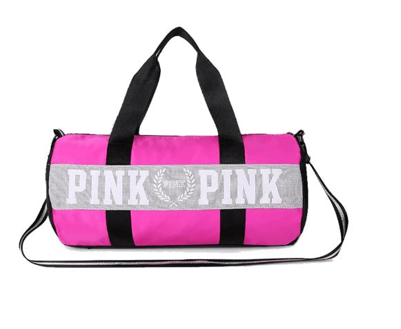 Women Bags Large Capacity Bags Travel Bags Love Pink Striped Shoulder Bag and Waist Bag Waterproof Bags