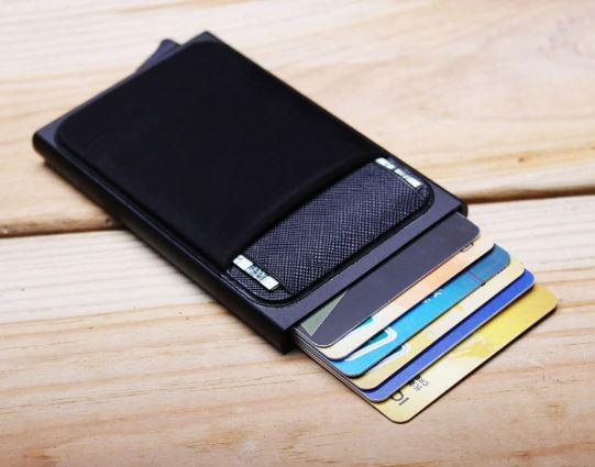 Wallet With ID Card Holder Back Aluminum Aluminum RFID Lock Slim Mini Credit Card Metal Wallet