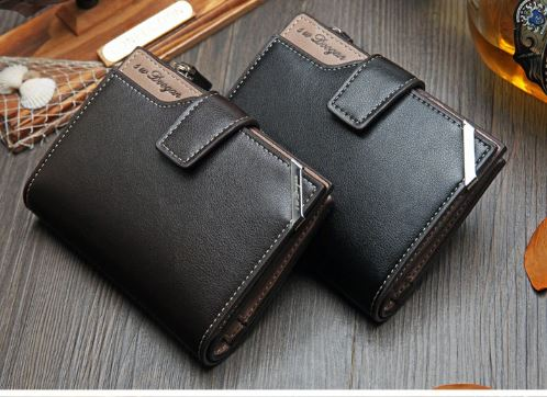 Men's Short Genuine Leather Wallet Genuine Vintage-Bit Multi-card Retro Card Holder Clutch Wallets