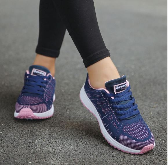 Women's Sneakers Fashion Sport Shoes Lace-Up Beginner Knit Round Cross Strips Flat Shoes Running Shoes See original English translation