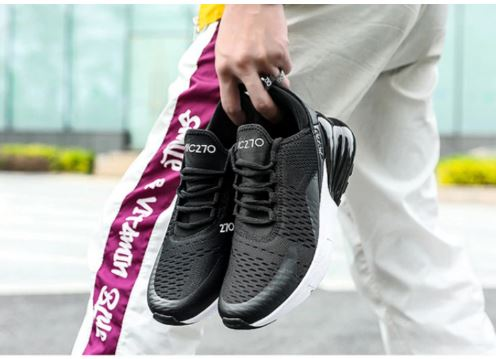 Mens Sport Shoes Breathable Running Shoes For The Man Black White