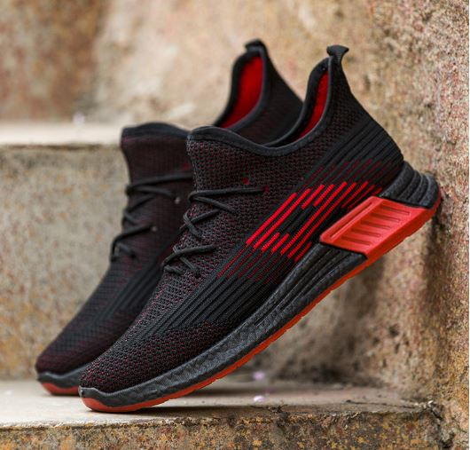 Men's Casual Flyknit Shoes Light And Comfortable Breathable low-help black red Shoes men's shoes