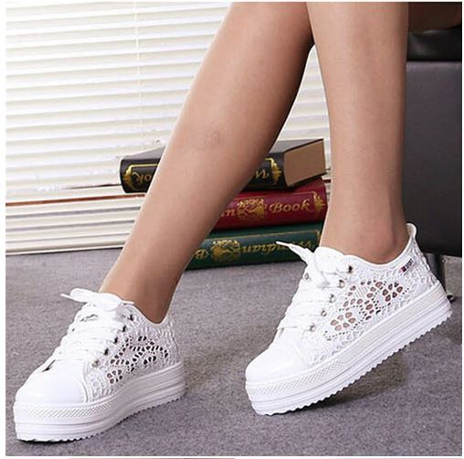 Women's shoes 2019 ladies shoes lace cutouts casual summer fashion canvas breathable hollow flat platform shoes woman sneakers
