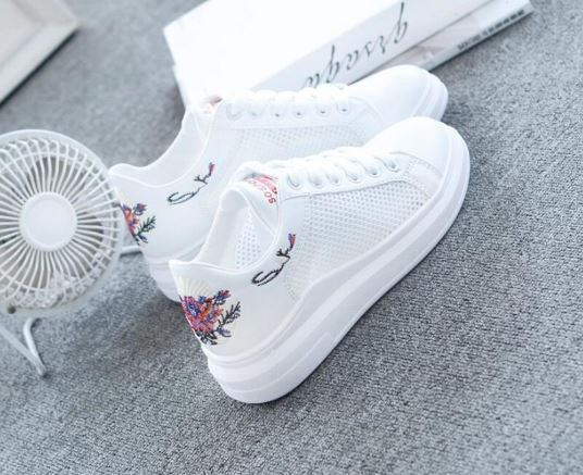 platform fashion shoes white ladies casual shoes comfortable shoes breathable mesh sneakers