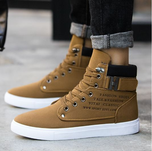 Winter Men's Warm Snow Boots Leather Shoes For The New High Top Canvas Man Casual Shoes