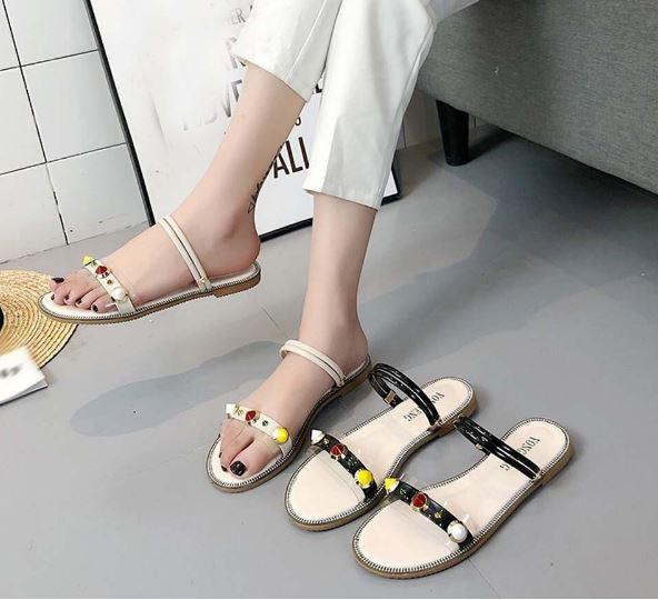 Sandals Rome Summer Sandals Platform Rivet Shoes Heels Flat Bottom Set
