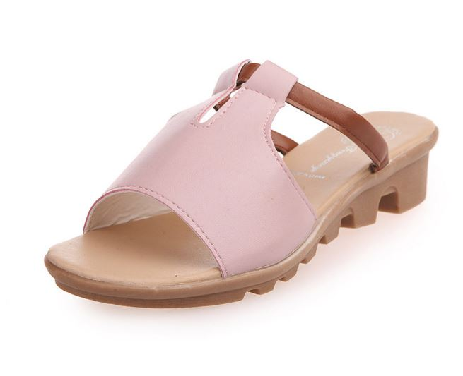 Fashion Summer Solid Color Low Heel Low Open Toe Platform Sandals