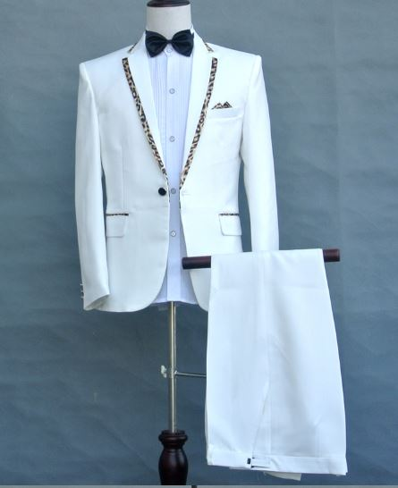 black white Leopard collar male suit Host costumes singer performance Men's Chorus Formal