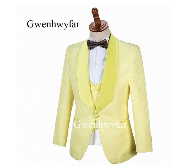 Men Slim Fit Suit 3 PCS Jacket + Vest + Pants For Wedding Groom Wedding Business Suit