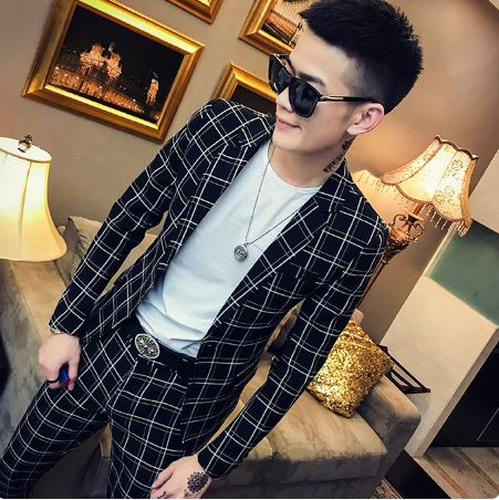New English Small Individual Suit for Young Social Men Young Men Fashion Leisure Suit