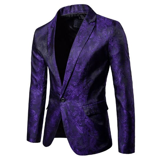 Purple Paisley Floral One Button Suit (Men's Pants + Trousers) 2018 Phase Party Sheath Smoking Men's