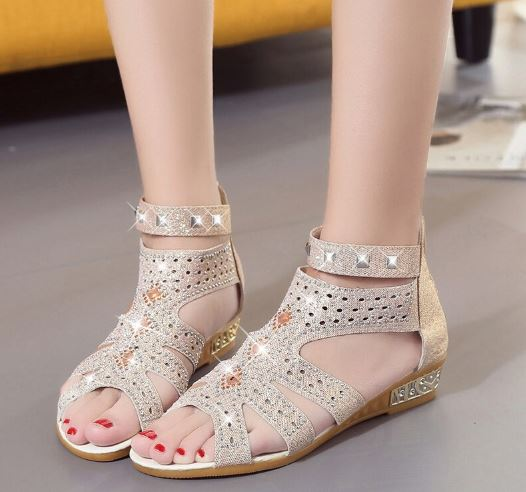 Women's Sandals Crystal High Heel Sandals Platform Sandals Summer Women Rome Heel Casual Shoes Sandals