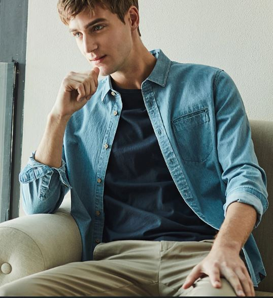 cotton solid color business casual denim men's long-sleeved shirt