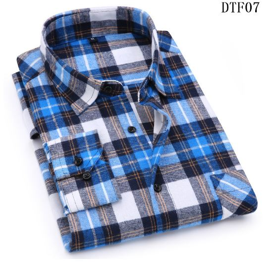 Men's Flannel Plaid Shirt 100% Cotton 2019 Spring Autumn Casual Long Sleeve