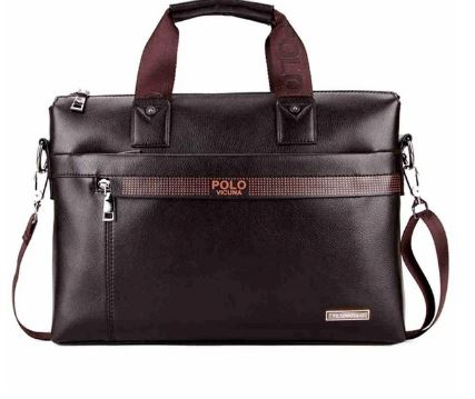 Fashion stitch, men's business briefcase, leather handbag, casual laptop bag