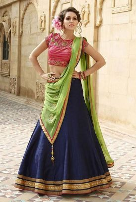 Navy Blue And Pink Appealing Raw Silk Lehenga Choli