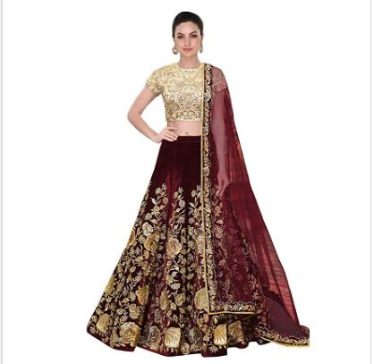 Designer Lehenga Semi Stitched Velvet Premium Quality with Net Shawl Maroon Colour