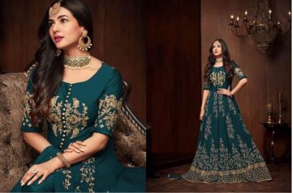 Ocean Blue Floral Embroidered Semi-Stitched Anarkali Gown For Women