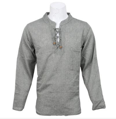 Grey Plain Cotton Kurta For Men