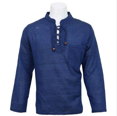Royal Blue Plain Cotton Kurta For Men
