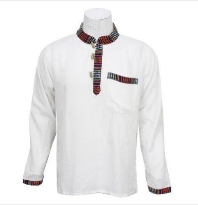 White Bhutani Designed Kurta Shirt For Men