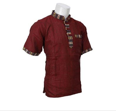 Maroon Half Sleeve Bhutani Kurta Shirt For Men