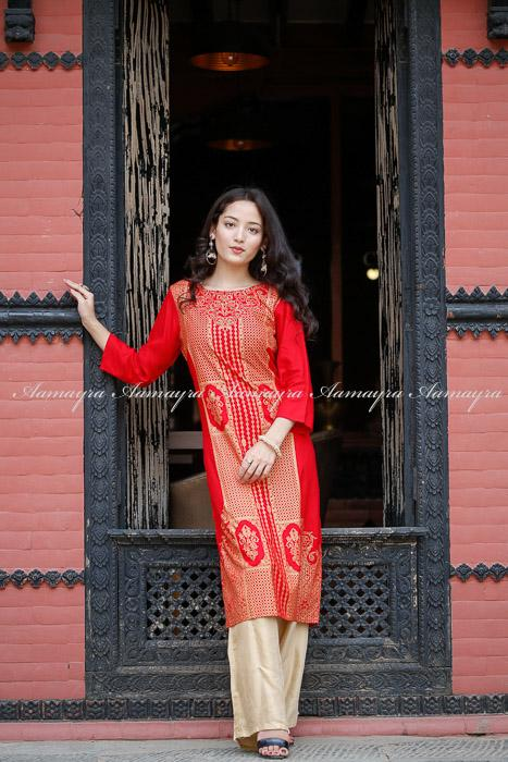 Red Long Kurti With Golden Print
