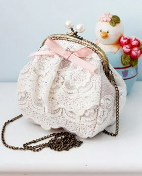 Shoulder Bag White Beige Coin Purse Pearl Bag Clasps Pink Ribbon Bow Lady Hand Bags