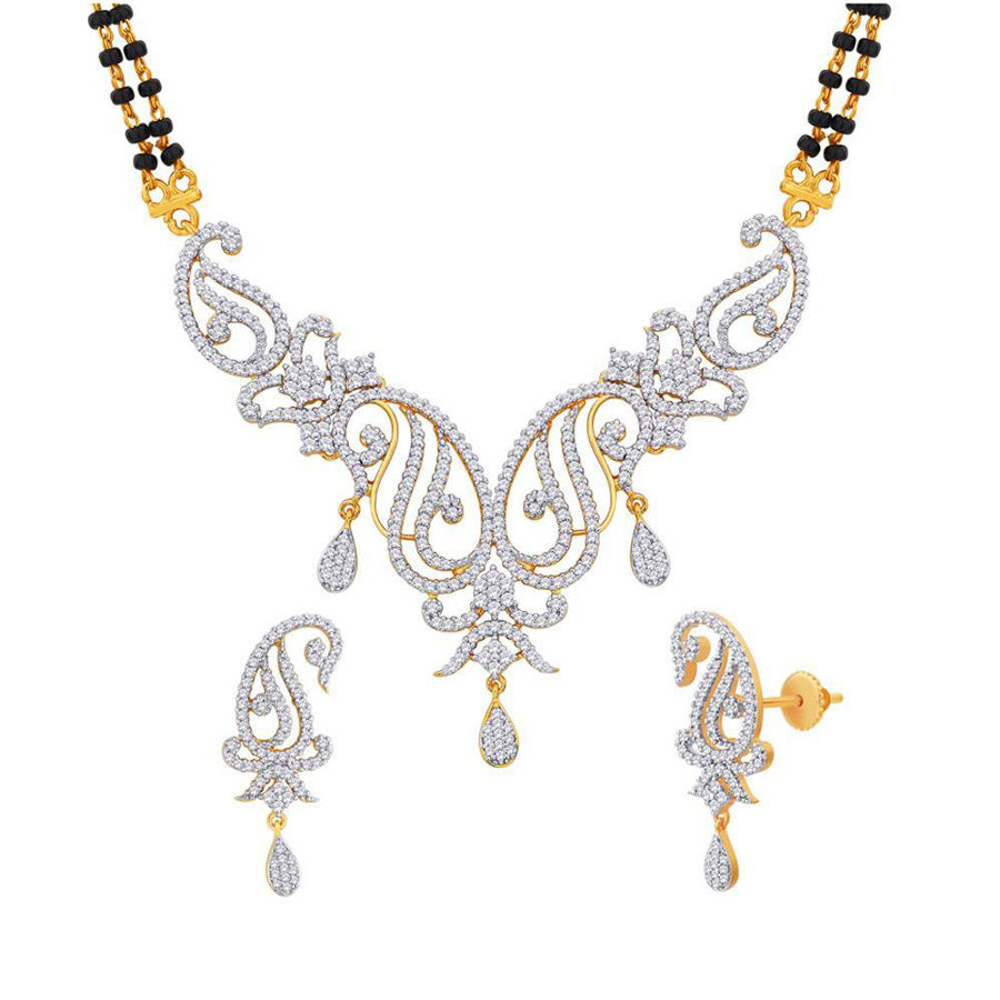 Gold Rodium Polish Gold Mangalsutra in Metal Alloy with CZ Diamond