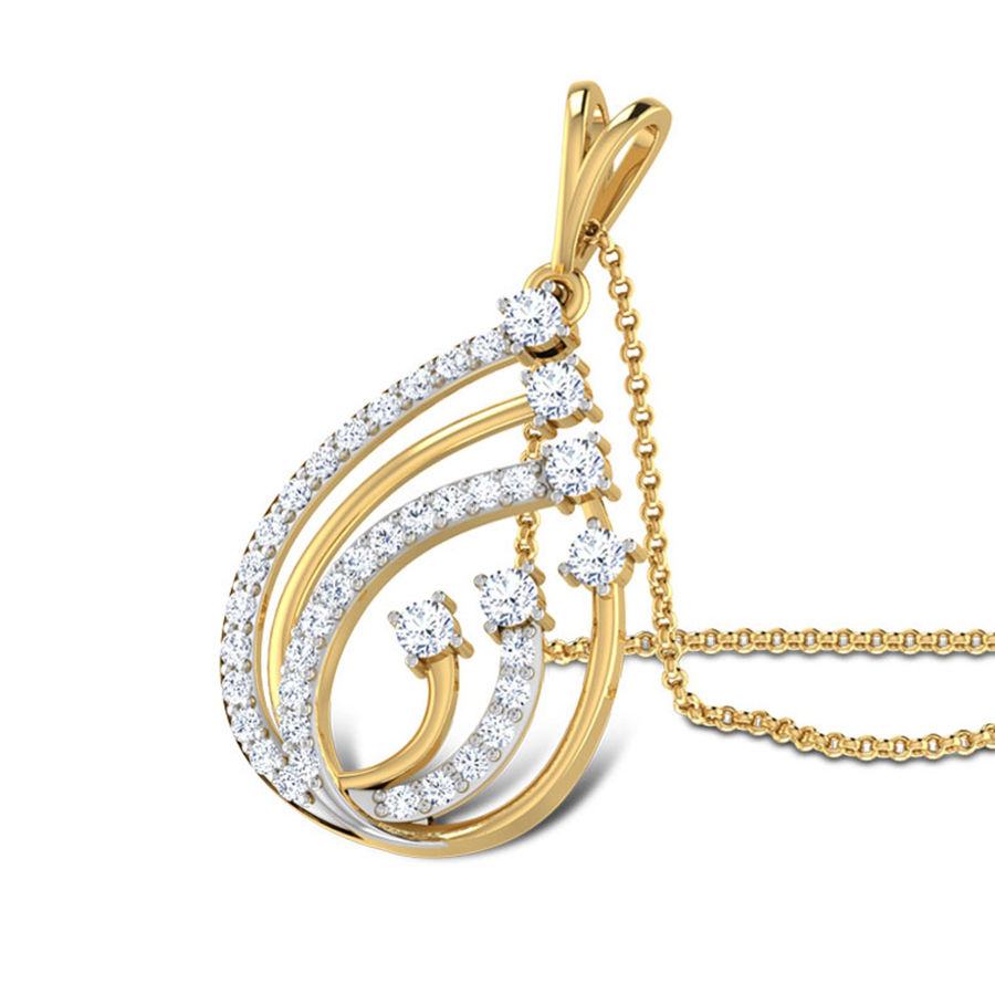 Gold Rodium Polish Gold Pendant in Metal Alloy with CZ Diamond