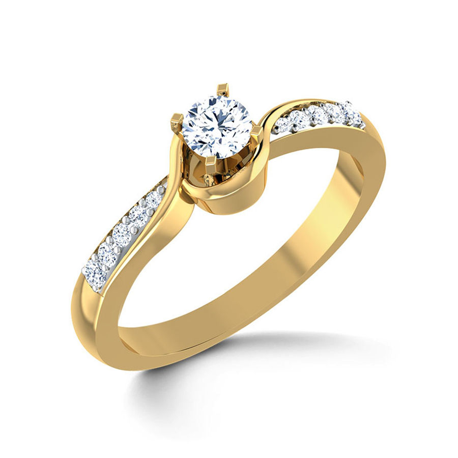 Gold Rodium Polish Gold Ring in Metal Alloy with CZ Diamond