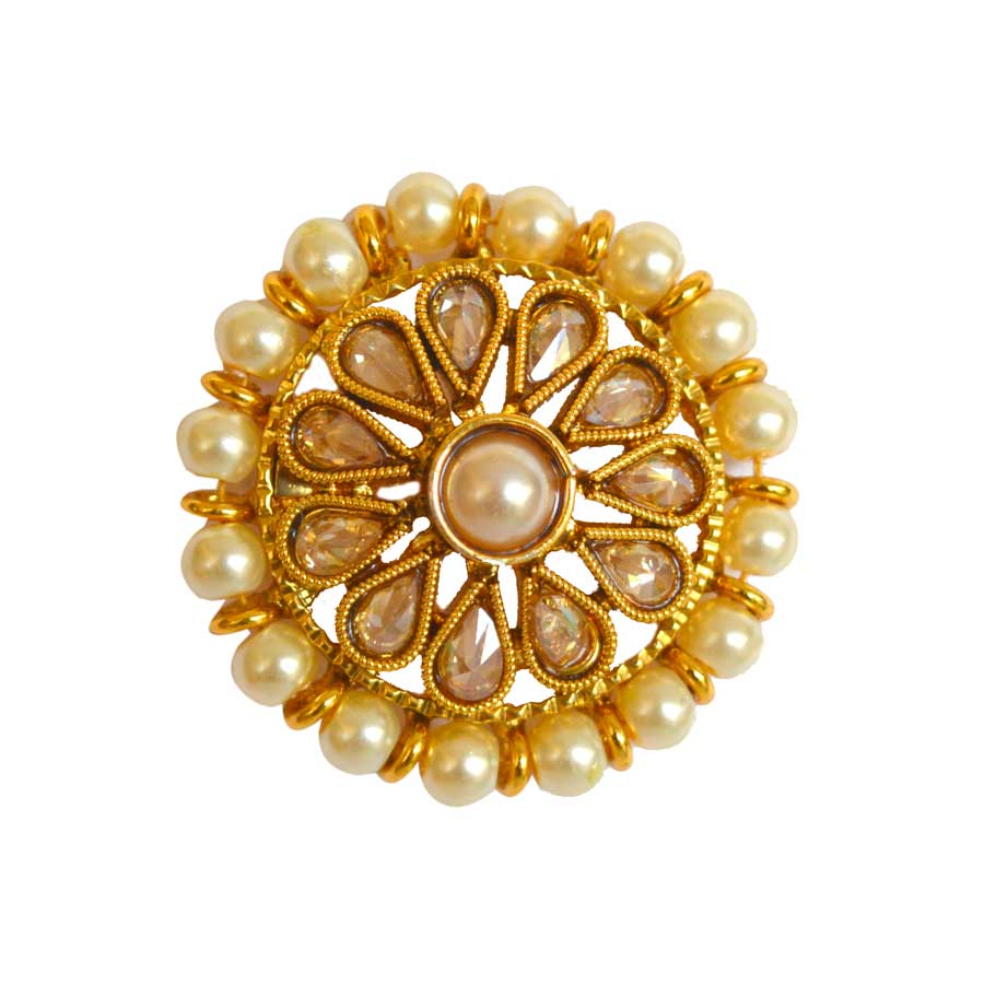 Gold Rodium PolishBeige and Brown Ring in Brass with Kundan