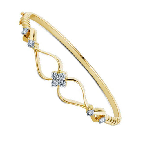 Gold Rodium Polish Gold Bracelet in Metal Alloy with CZ Diamond