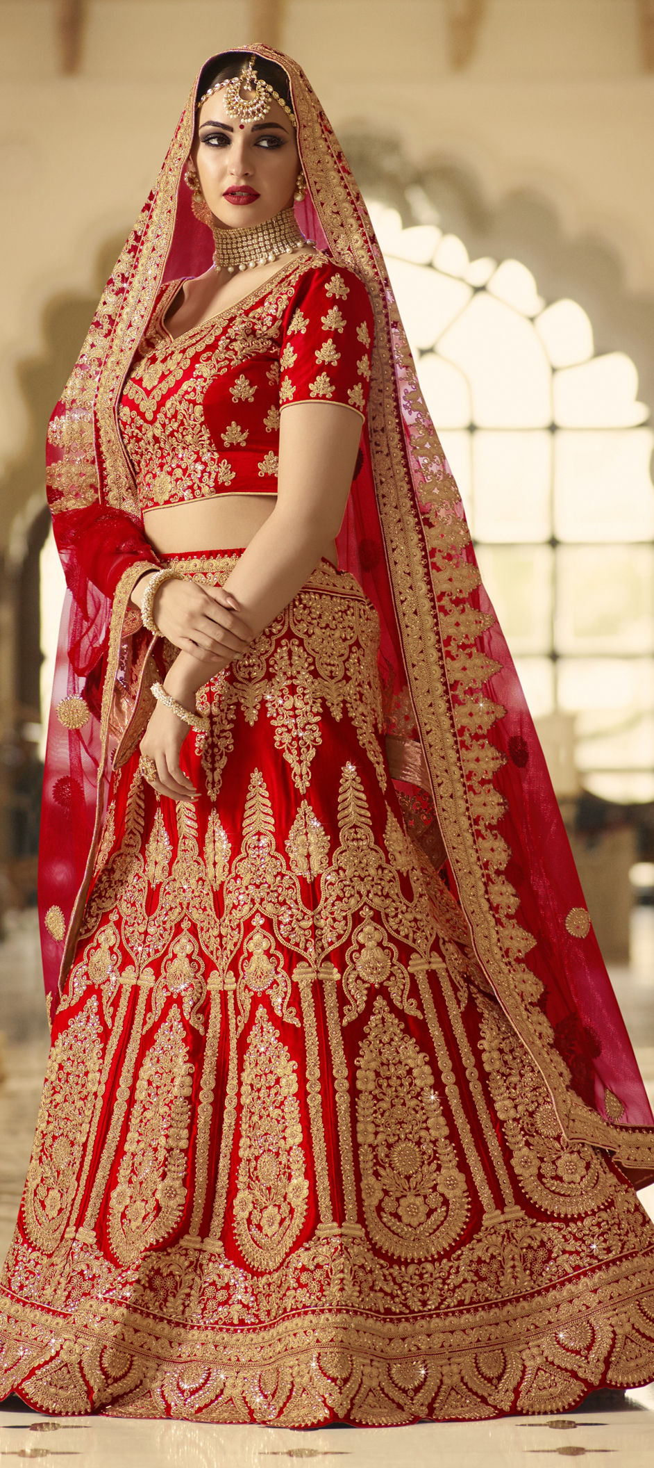Silk Wedding Lehenga in Red and Maroon with Zari work
