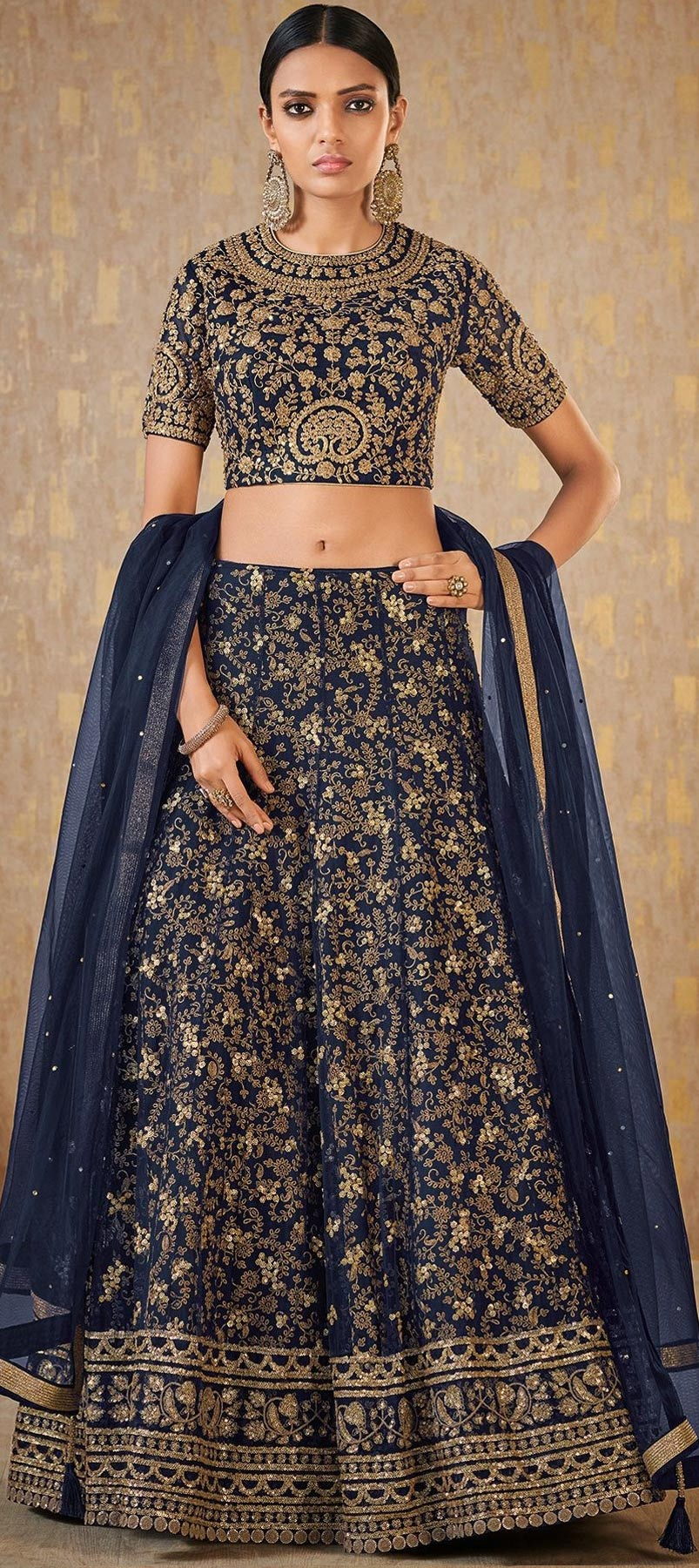 Banarasi Silk Reception Lehenga in Blue with Resham work