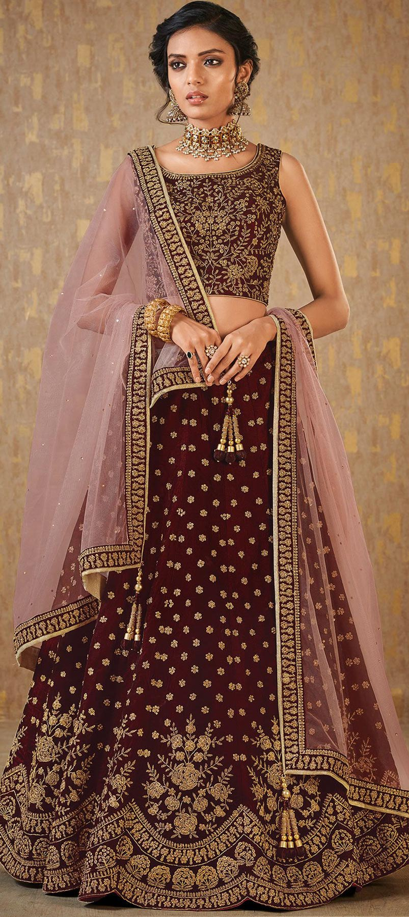 Mulberry Silk Reception Lehenga in Red and Maroon with Resham work