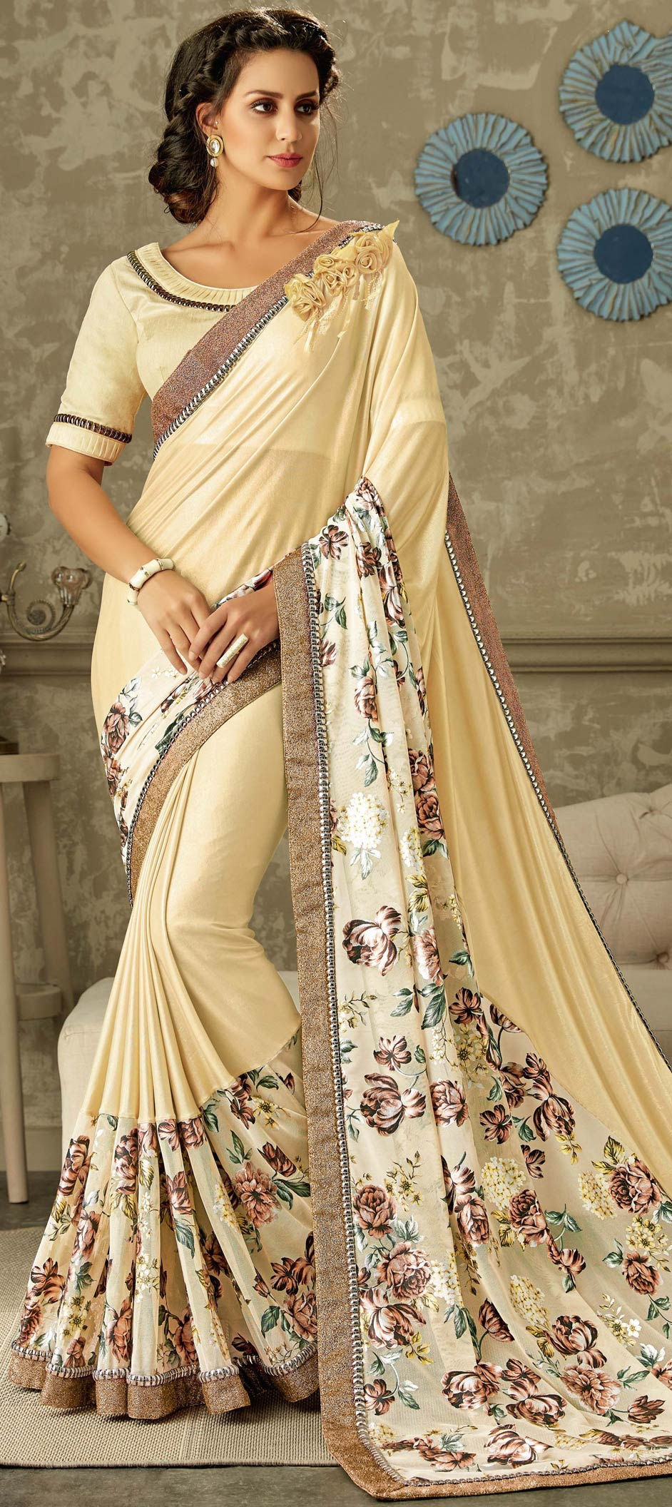 Lycra Designer Saree in Beige and Brown with Floral work